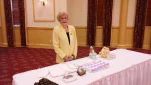 Myra Woods and some of the many handcrafted items she makes for card party raffles