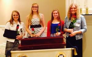 2015 scholarship winners Amanda Ritchie, Hailey Bauer, Emma Johnson, and Amanda Smith